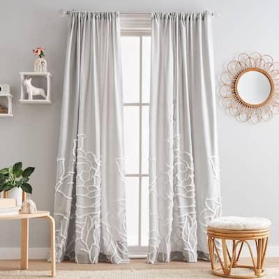 Chenille Rose Poletop Single Curtain Panel