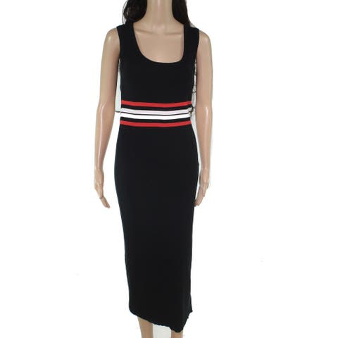 Lauren by Ralph Lauren Women's Sweater Dress Black Size Large L Stripe