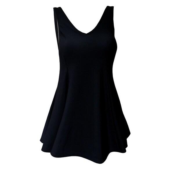V-Neck Swimdress with Tank Style Straps in Black