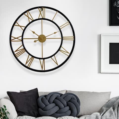 Walplus Minimalist Large Roman Black Silver Gold Metal Iron Wall Clock