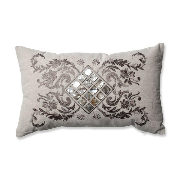"18.5"" Mother of Pearl Decorative Throw Pillow with Filigree Detailing"