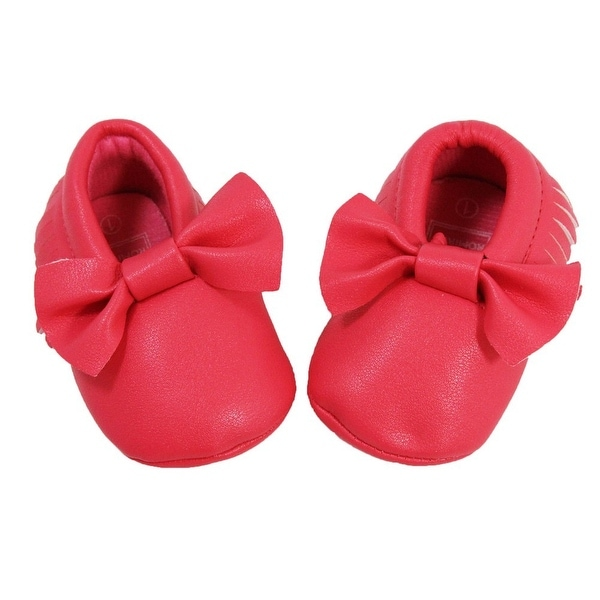Baby Girls Melon Bow Faux Leather Moccasin Soft Sole Crib Shoes