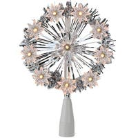 "7"" Silver Tinsel Snowflake Starburst Christmas Tree Topper - Clear Lights"