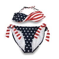 American Flag Twist Bandeau Top Side Tie Bikini Bathing Suit