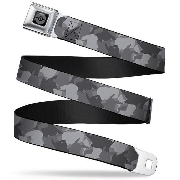Pok Ball Black Silver Pikachu Camo Grays Webbing Seatbelt Belt Fashion Belt