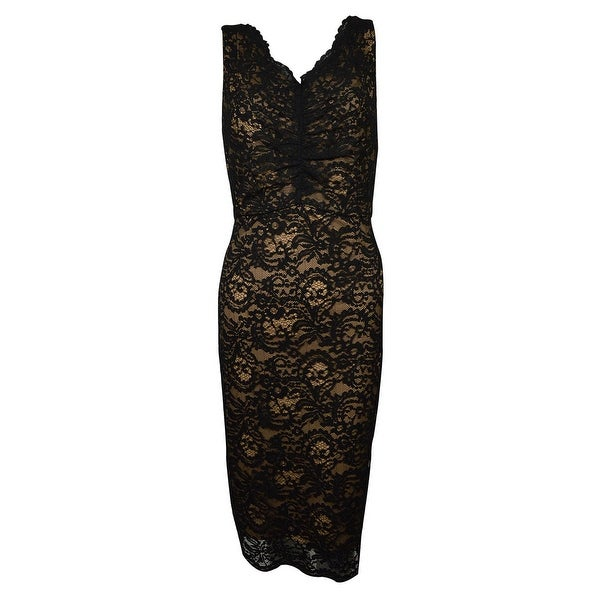 e025e6015ea27 Alex Evenings Women's V-Neck Back Sleeveless Lace Dress - Black/Nude - 10