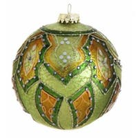 "Green and Orange Matte Jeweled Glittery Glass Ball Christmas Ornament 4"" (100mm)"