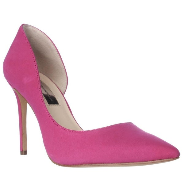 I35 Kenjay Pointed Toe D'Orsay Heels, Deep Fuschia