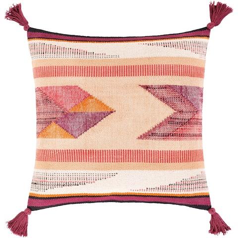 Alina Tasseled Burgundy Handwoven Bohemian Throw Pillow