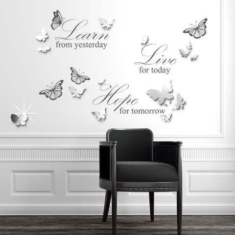 Walplus Wall Sticker Live Learn Hope Quote Mirror Butterfly Home Decor