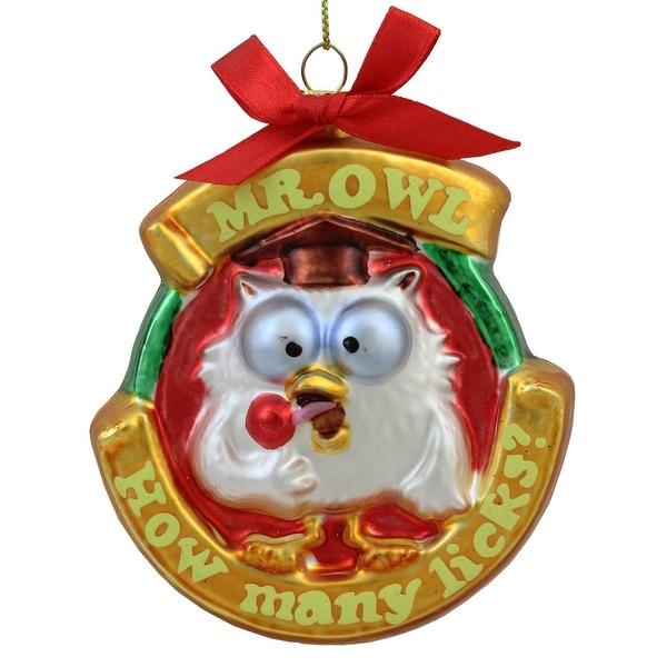 "3.5"" Candy Lane Tootsie Roll Pop Original Candy-Filled Lollipop ""Mr. Owl"" Glass Christmas Ornament"