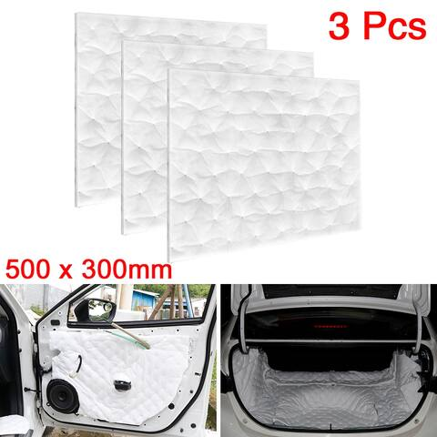 3pcs 500x300mm Car Audio Stereo Sound Acoustic Foam Noise Absorbing Deadening - White