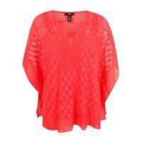 Alfani Women's Dot-Lace Poncho Top (Coral Blast, XL) - coral blast - xL