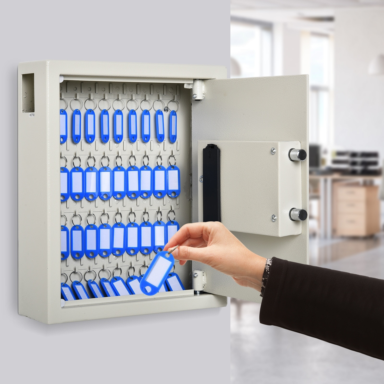 Xnonix 40 Steel Safe Hook Key Box w//Tag Digital Lock Storage Case Cabinet Wall Mount