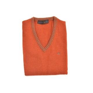 Etro Orange Wool Duo Tone Ribbed V Neckline Sweater