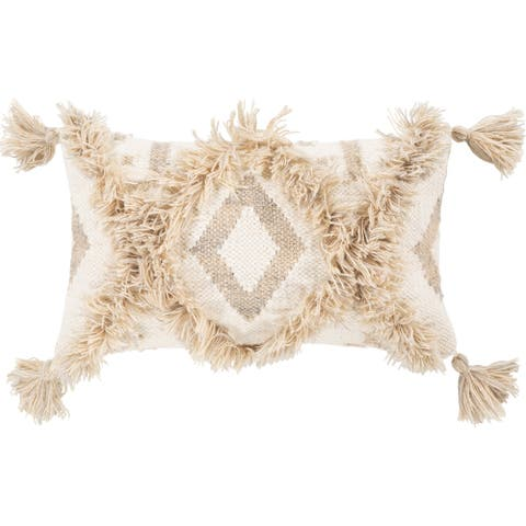 Hamel Hand Woven Boho 10x18-inch Poly or Down Lumbar Throw Pillow