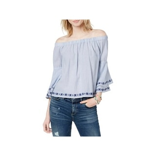 Lucky Brand Womens Blouse Embroidered Off-The-Shoulder