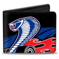 Flaming Cobra Jet Black Blue White Red Bi Fold Wallet - One Size Fits most