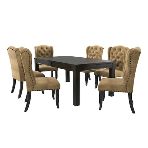 Furniture of America Foster Rustic Gold Linen 7-piece Dining Table Set