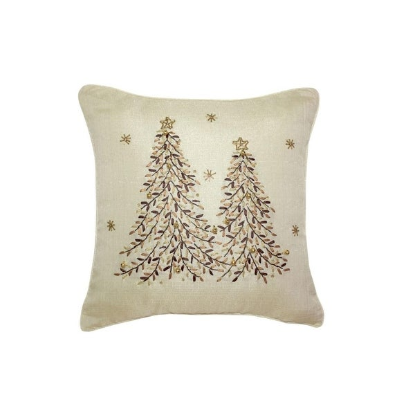 Pack of 2 Neutral Toned Embroidered Christmas Tree and Snowflake Decorative Throw Pillow 15""