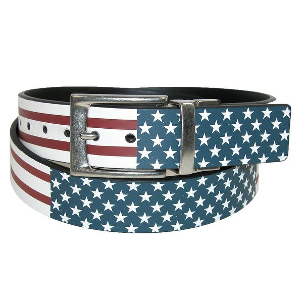 PGA TOUR Men's Leather Reversible American Flag to Solid Black Belt