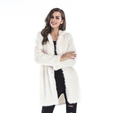 2018 New Lapel Furry Long Coat