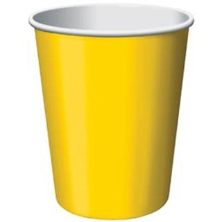 School Bus Yellow - Paper Hot & Cold Cups 9Oz 24/Pkg