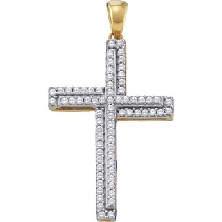 Cross Pendant 10K Yellow-gold With Diamonds 0.33 Ctw By MidwestJewellery - N/A