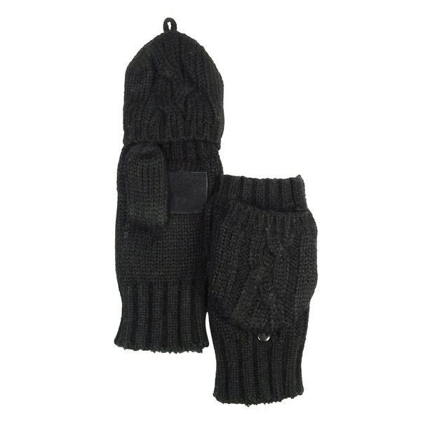 0356e6f9d Shop Isotoner Women's Signature Casual Cable Knit Flip-Top Mittens - Black  - os - Free Shipping On Orders Over $45 - Overstock - 14815299