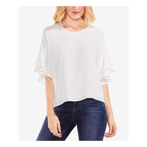 VINCE CAMUTO Womens White Ruffled 3/4 Sleeve Jewel Neck Top Size S
