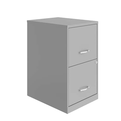 Space Solutions 18in. 2 Drawer Metal File Cabinet, Arctic Silver
