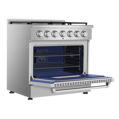 "Empava 36"" 5.2 cu. ft. Pro-Style Slide-In Single Oven Gas Range with 6 Sealed Burners in Stainless Steel"