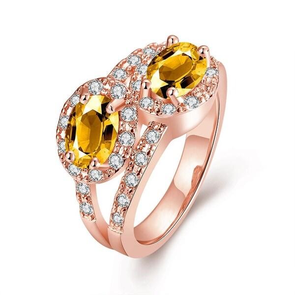 Duo- Crystal Jewel Rose Gold Ring