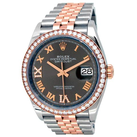 Pre-owned 36mm 18k Rose Gold and Stainless Steel Datejust Watch - Rhodium