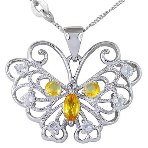 Citrine, Topaz, Diamond Sterling Silver Marquise Solitaire Pendant by Orchid Jewelry