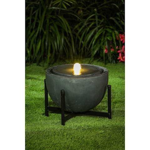 Cement/Iron Bowl Stone Finish Outdoor Patio Fountain with LED Light