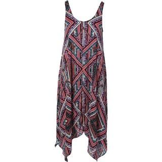 Aqua Womens Printed V-Neck Casual Dress