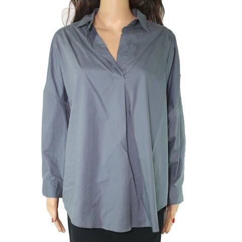 French Connection Women's Blouse Gray Size Medium M Button Down Cotton