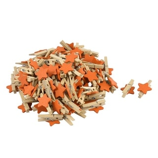 Star Pattern Card Photo Crafts Spring Pegs Mini Wooden Clip Orange 100pcs