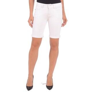 Lola Jeans Elisa-WHT, Mid Rise Bermuda Short