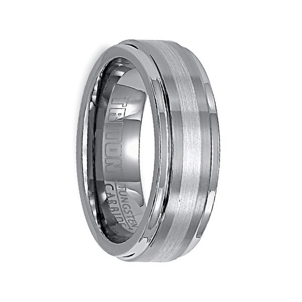 EMMETT Raised Brushed Center Tungsten Wedding Band with Platinum Inlay by Triton Rings - 7 mm