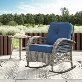 Link to Corvus Salerno Outdoor Wicker Rocking Chair with cushions Similar Items in Patio Chairs