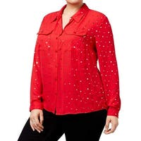 NY Collection Red Women's 1X Plus Embellished Chiffon Blouse