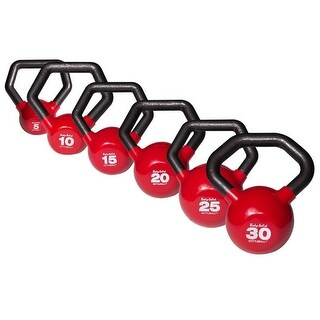 Body-Solid Vinyl Dipped Kettlebell Set 5-30lbs - Black
