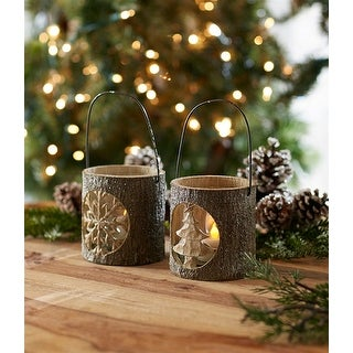 Set of 2 Christmas Tree and Snowflake Candle Holder w/Glass Votive 7.5 - brown