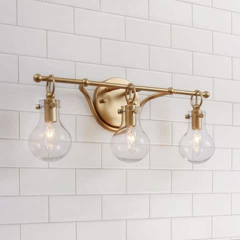 """Glam Gold 3-lights Bathroom Wall Sconce Globe Clear Glass Vanity Lighting for Powder Room - L 20""""x H 8.5""""x E 6"""""""