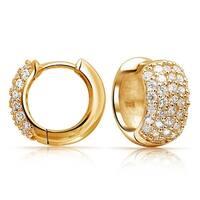 65442874f 5 Five Row Pave Cubic Zirconia Wide Huggie Hoop Earrings For Women 14k Gold  Plated 925