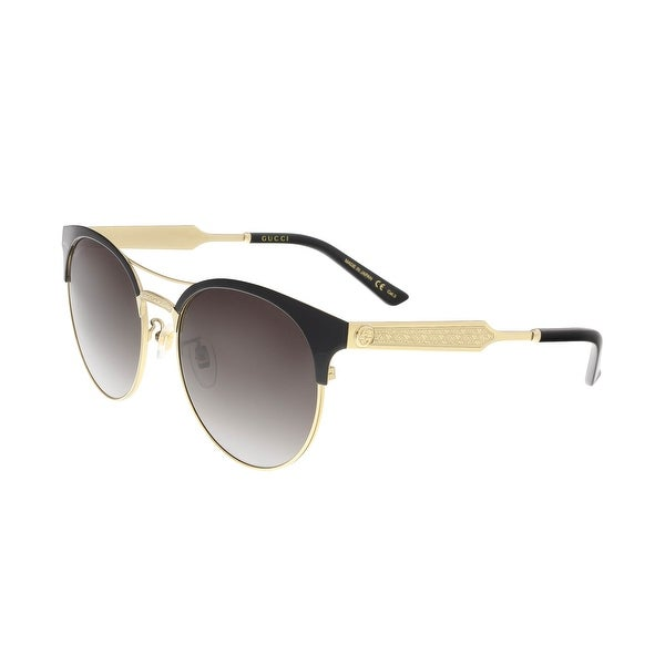 c023b0a0e Shop Gucci GG0075S 002 Black/Gold Round Sunglasses - 56-18-145 ...