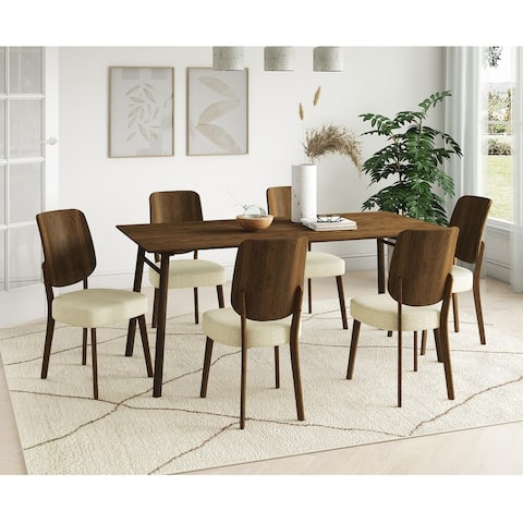 Carson Carrington Janega 7-piece Rectangular Table and Armless Wood Back Dining Chairs