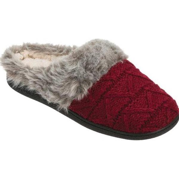 dbadf99d0 Dearfoams Women's Textured Knit Clog Slipper with Pile Cuff Cabernet